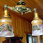 SALE Victorian Two Drop Light Ceiling Fixture one of a pair $295