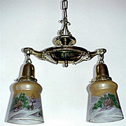 SALE Two Light Hand Painted Shades Ceiling Drop Light  $295