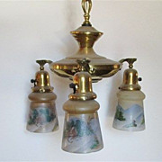 SALE 3 Drop Light  Hanging Light  Circa  1900 Matching Hand Painted Shades  $495
