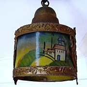 SALE Hand Painted Antique Hanging Lamp $295