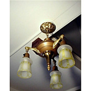 SALE Antique Ceiling Hanging Light with 3 Matching Glass Drop Shades $449