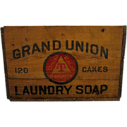 REDUCED Grand Union Soap Advertising Wood Box 30 Boxes To Choose From