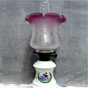 SALE Porcelain Base Oil Lamp with Chimney and Shade  $495