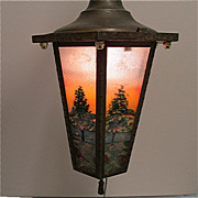 SALE Ceiling Light Framed Six Panel Hand Painted Fixture