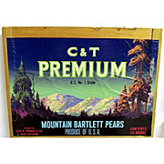 SALE C & T Premium Pears Wood Advertising Sign 50+% OFF