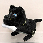 SALE Key Wind Scottie  Dog with a Bone Tin Toy WORKING