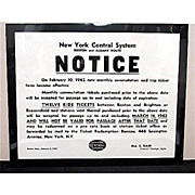 SALE New York Central System Railroad Boston & Albany Route  1942 Notice Poster