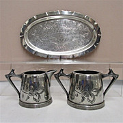 SALE American Cream and Sugar Set with Tray Silver Plate