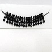 SALE Bracelet Black Faceted Glass Beads