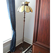 SALE Pole Lamp with Slag Panel Shade