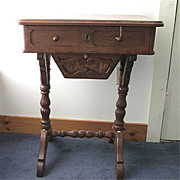 SALE Victorian Work Table or Sewing Stand  in Chestnut Inlay on Top