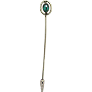 "SALE Stickpin 2 1/2"" Large Emerald Color Strass Head REDUCED"