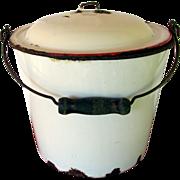 SALE Enamel Pail or Bucket with Enamel Lid