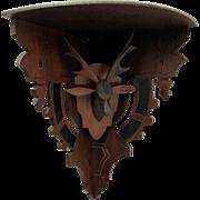 SALE Stag Head Corner Shelf Hand Carved Circa 1880 No Damage