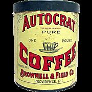SALE Autocrat Coffee Paper Label Advertising Tin