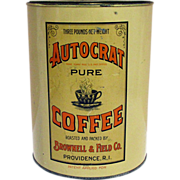 REDUCED Autocrat Pure Coffee 3 Lbs Advertising Coffee Tin