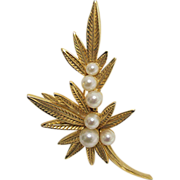 SALE Jomaz  Leaf Pin or Brooch with Six Simulated Pearls