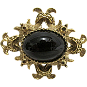 SALE Pin or Brooch with Simulated Onyx Center Stone