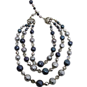 SALE Three Strand Necklace Crystals, Rhinestone, Blue, Gray Beads