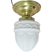 REDUCED Antique Ceiling Lamp with Milk Glass Shade
