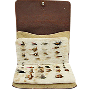 SALE Fly Fishing Wallet Leather with 31 Flies