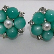 SALE Earrings Faux Pearl and Jade Screw Back