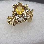 SALE Topaz and Diamond Custom Design Gold Ring $295
