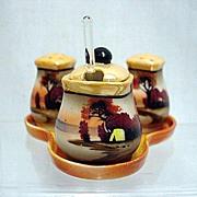 SALE Condiment Set Luster Porcelain Hand Painted Lusterware