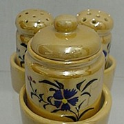 SALE Condiment Set Carmel Luster with Tray