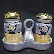 SALE Salt and Pepper Shakers Luster Set with Tray