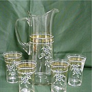 REDUCED Czech Glass Water or Lemonade Set  Pitcher and 4 Glasses