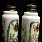 SALE Antique American Glass Salt and Pepper Set Hand Painted Shakers