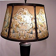 SALE Table Lamp Antique with Reverse Painted Shade
