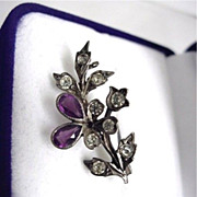 SALE Sterling Pin Amethyst and Rhinestone Floral  Antique Brooch