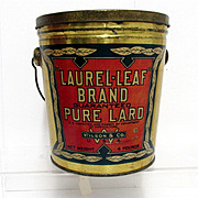 SALE Lard Advertising Antique Tin Pure Lard Laurel Leaf Brand Pail