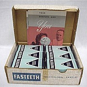 REDUCED Fasteeth Dentists Samples Box of 12 Mint Unopened Tins