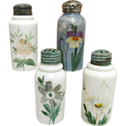 SALE Four Shakers Hand Painted American Glass