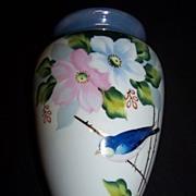 Handpainted Bluebird Wallpocket--Japan