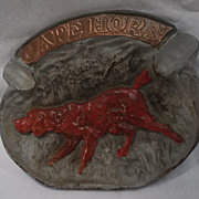 SALE Title: Cape Horn Ashtray with Irish Setter Dog