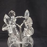 SOLD Pewter Castor/Cruet Stand with 4 etched & clear glass bottles