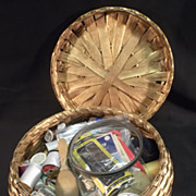 Vintage Sewing Basket loaded with Needles & Supplies+17 spools of thread