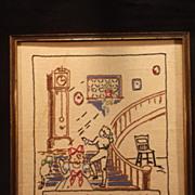 My Grandfather's Clock Needlework Sampler Circa 1940 era