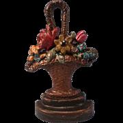 SALE Vintage Hubley Cast Iron Flower Bouquet Basket Door Stop