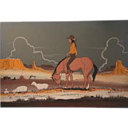 SALE Native American Navajo Watercolor Indian Dream Painting - Lone Navajo Shepard