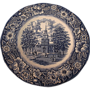 SALE Staffordshire Ironstone Liberty Blue Transferware Plate--Independence Hall