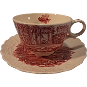 "SALE Taylor Smith and Taylor ""Pink Castle"" Red and White Transferware Cup & Saucer"