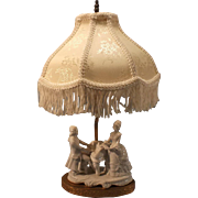 SALE Porcelain German  Figural Boudoir Lamp--Beautiful Fringed shade