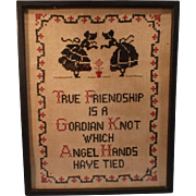SALE Vintage Gordian Knot Sampler; Framed under glass