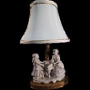 SALE Porcelain German Figural Boudoir Lamp - Victorian Couple
