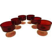 SALE PENDING Vintage Set of 6 Luminac Arcoroc Ruby Glass Dessert/sherbert Compotes
